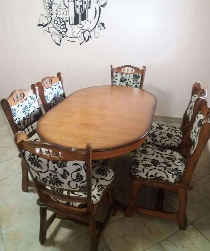 München étkező garnitúra 6 személyes ovális asztal 6 szék román bútor