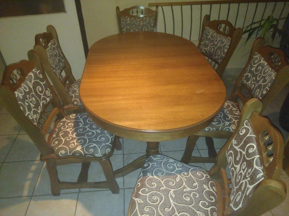 München étkező garnitúra ovális asztal szék tölgy szín M szövet román bútor