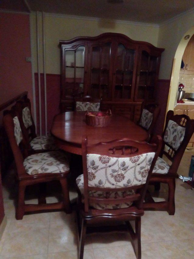 München étkező garnitúra antikolt cseresznye G4 6 személyes asztal szék 4-es tálaló 4 ajtós tálalószekrény román bútor