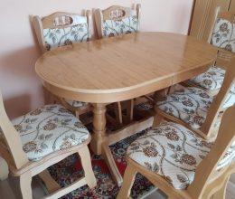 München étkező garnitúra natúr G4 6 személyes asztal szék román bútor