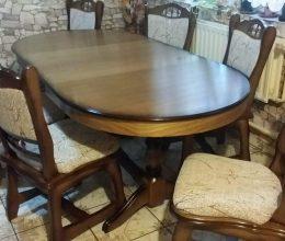 München étkező garnitúra antikolt tölgy 2072 6 személyes asztal szék román bútor