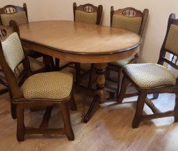 München étkező garnitúra antikolt tölgy fc 6 személyes Európa asztal szék román bútor