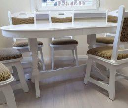 München étkező garnitúra fehér fc 6 személyes Európa asztal szék román bútor