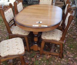 München étkező garnitúra antikolt tölgy B17 6 személyes asztal szék román bútor
