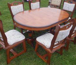 München étkező garnitúra antikolt cseresznye 2072 6 személyes Európa asztal szék román bútor
