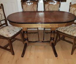 München étkező garnitúra antikolt tölgy 2071 4 személyes Európa asztal szék román bútor akciós ár münchen étkezőgarnitúra