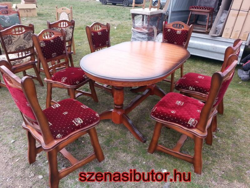 München étkező garnitúra antikolt cseresznye K4 6 személyes Európa asztal szék román bútor