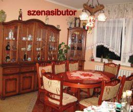 München étkező garnitúra 8 + 1 antikolt cseresznye D szövettel 8 személyes asztal szék tálalószekrény, sarok tálaló szekrény akció ár München étkező garnitúra román bútor