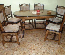 München étkező garnitúra antik tölgy F1 6 személyes Európa asztal szék román bútor akciós ár münchen étkező román bútor