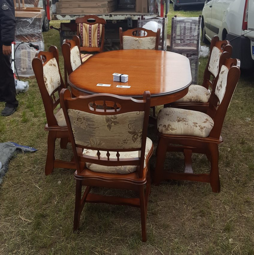 München étkező garnitúra antikolt cseresznye B11 6 személyes asztal szék akciós ár román bútor