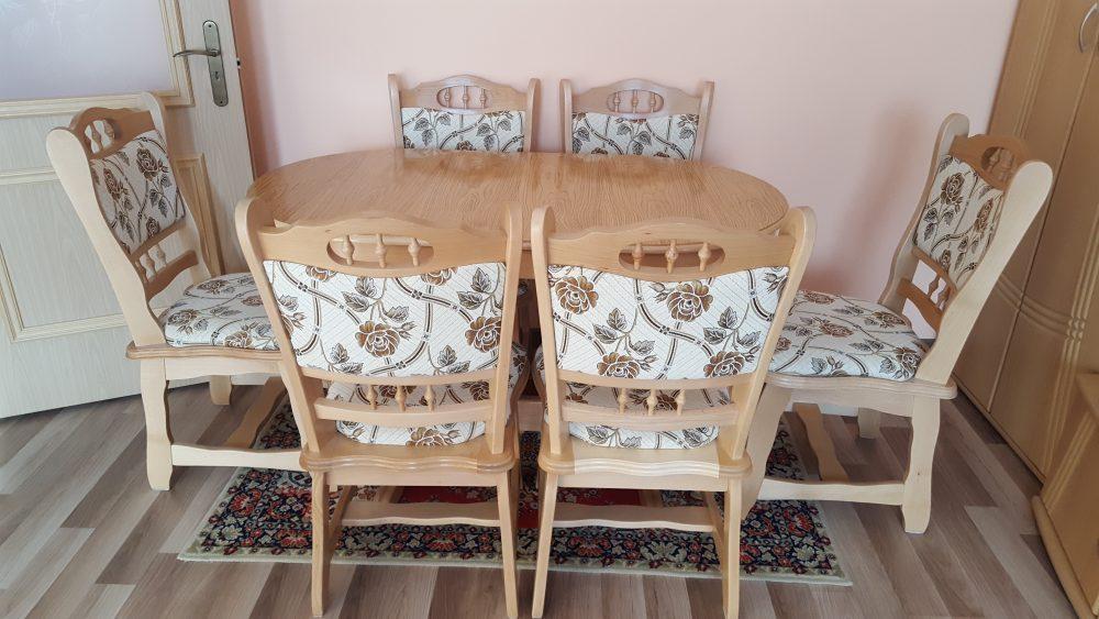 München étkező garnitúra natúr G4 6 személyes asztal 6 db szék münchen étkező román bútor