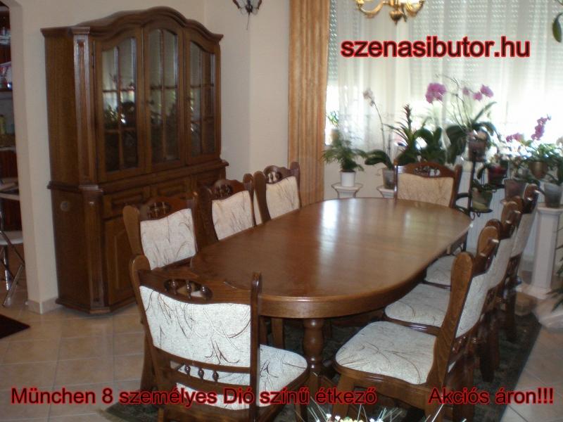 München étkező garnitúra 8 személyes Európa asztal szék 3 ajtós tálaló szekrény román bútor münchen étkező