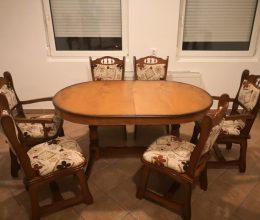 München étkező garnitúra ovális asztal 4 sima 2 karfás székkel