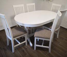 Modern étkező garnitúra München fehér ovális asztallal fa bútor